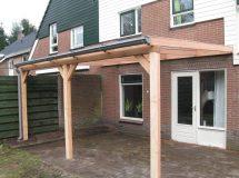 Pext houten veranda Lariks 2UV muuraanbouw, model Trend