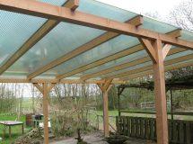 Pext houten veranda Lariks 1UV vrijstaand, model Basic