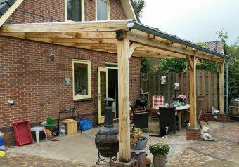 Eikenhouten veranda met glas, muuraanbouw