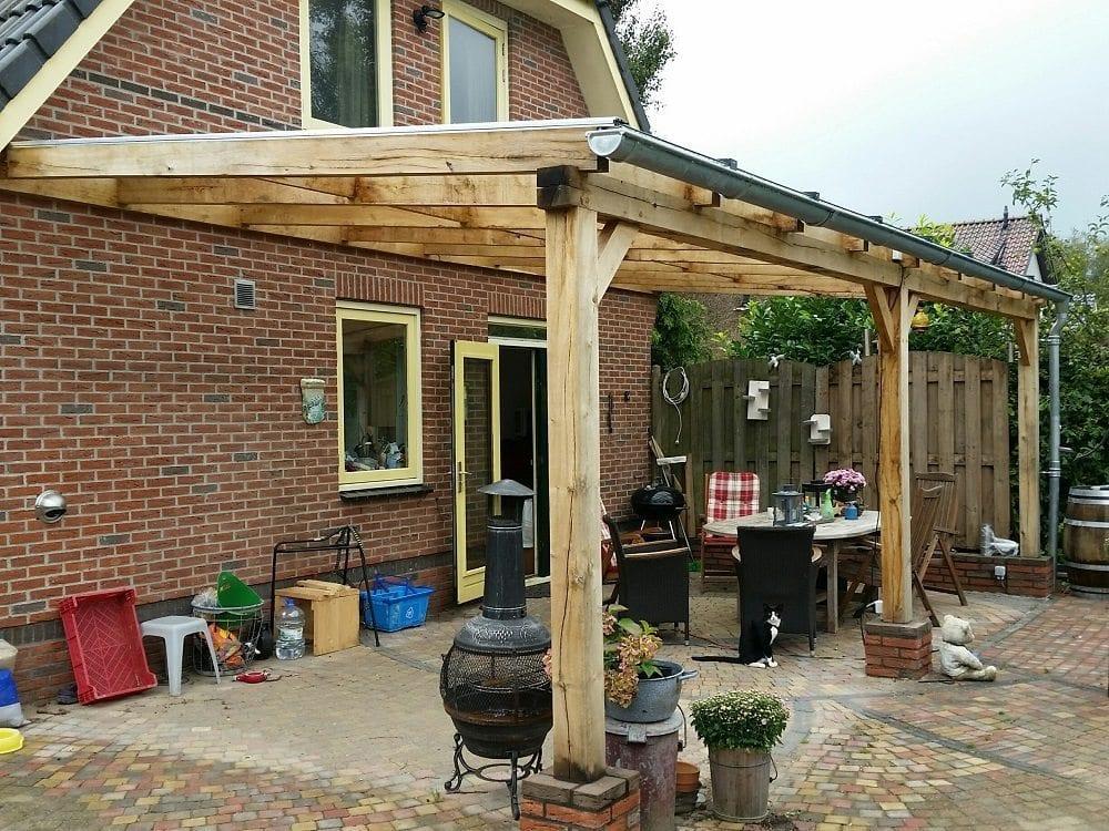 Eikenhouten veranda met glas muuraanbouw for Foto op hout maken eigen huis en tuin