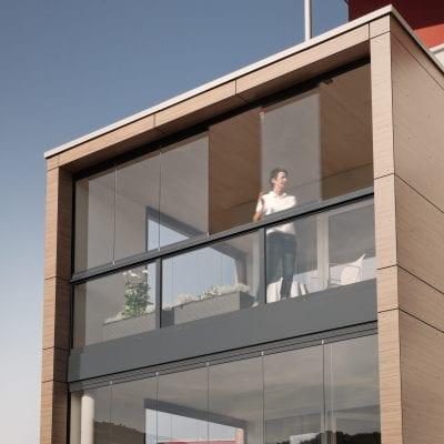 Solarlux schuifwand als balkonbeglazing