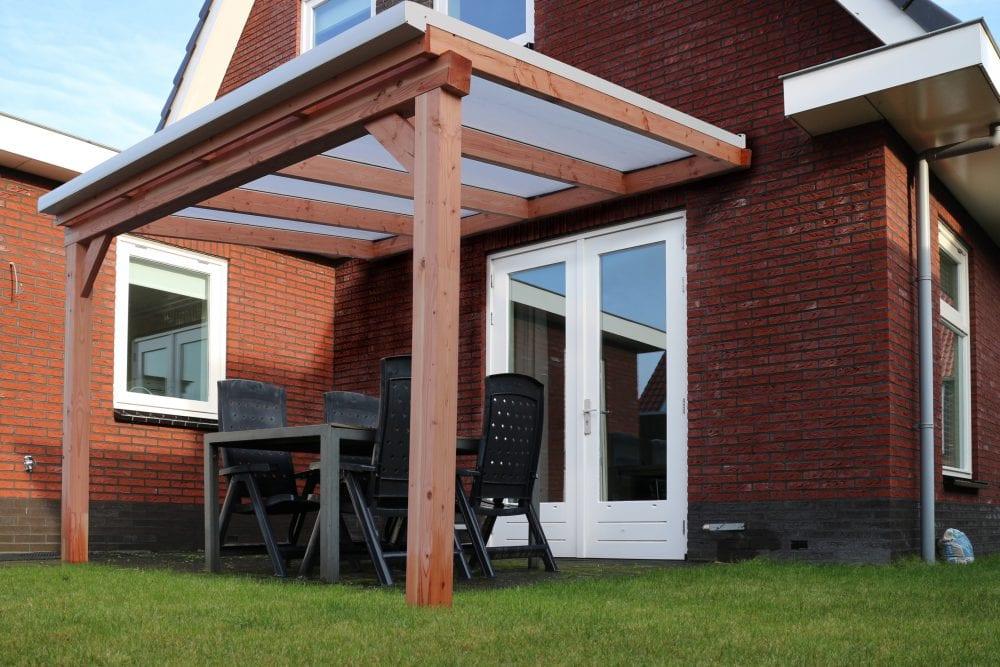 Pext veranda douglas duplo 140 met glas g50 muuraanbouw buiten goed